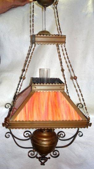 Slag Glass Brass Frame Hanging Lamp