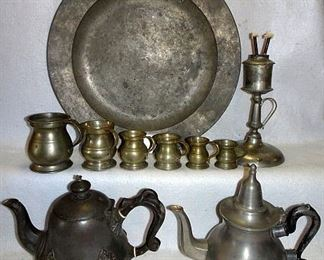 Early Pewter Charger, Measurers & Tea Pots