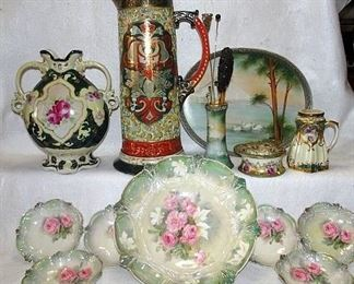 RS Prussia Berry Set, Hand Painted Nippon & Moriage