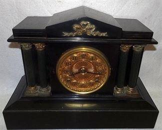 Ansonia Black Marble Mantle Clock