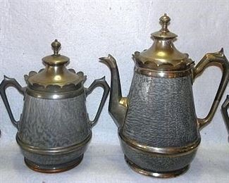 Grey Granite & Pewter Coffee Set
