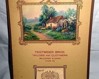 Tegtmeier Tailors & Clothiers, Millstadt, Illinois Advertising Calendar