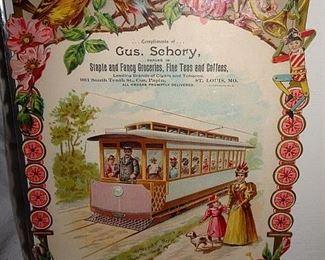 Gus Schory Grocers, Fine Teas & Coffees Die Cut Advertising