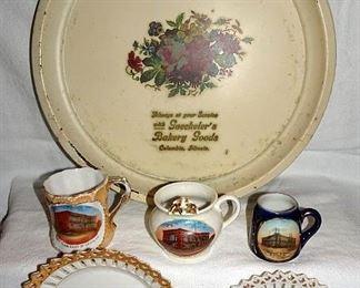 Advertising Souvenir Plates, Mugs, St. Louis, East St. Louis, Columbia, IL