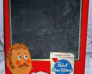 Pabst Blue Ribbon Advertising Chalk Board Sign