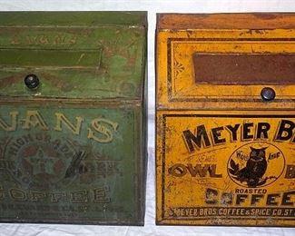 Evans & Meyer Bros. Owl Brand Coffee Tin Advertising Store Bins
