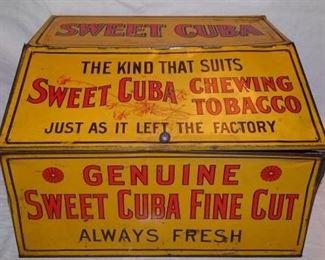 Tin Sweet Cuba Tobacco Advertising Store Bin