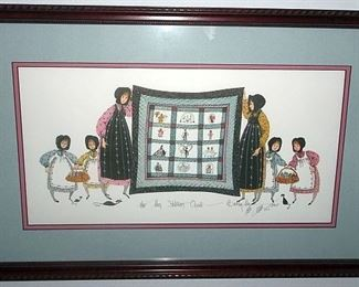 """P. Buckley Moss """"The Moss Stitcher's Quilt"""" Artist Signed & Numbered"""