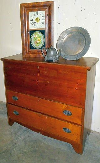 Period 2 Drawer Lift Top Mule Chest, Early Pewter, Weight Clock
