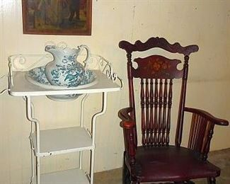 Metal Open Washstand, Pitcher & Bowl, Spindle Back Mahogany Arm Rocker