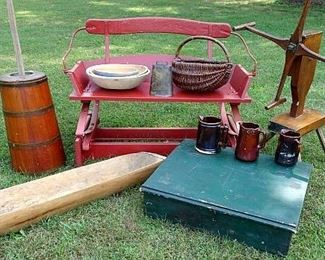 Wooden Wagon Seat, Country Store Counter In Old Green, Yarn Winder, Dasher Butter Churn, Wooden Trench & Round Wooden Bowls, Baskets