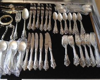 Wallace Grand Baroque service for 12,  DOUBLE TEA SPOONS, many pieces in orig wrap. Also large serving fork and spoon.