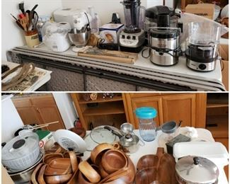 Small appliances including Nuwave Oven new in box with all accessories.  Wooden Bowl Sets Mid Century