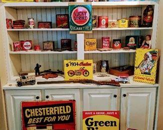 vintage advertising signs, vintage fishing poles tackle, guns and more