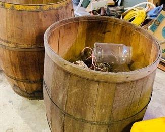 2 antique wooden barrels