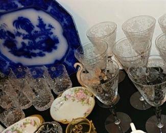 Flow Blue platter and vintage glassware