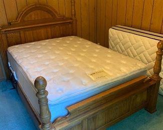 Broyhill Queen Oak bed and mattress