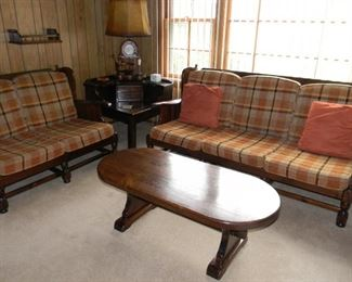 BUY IT NOW for $75.00 - 4 Piece Set: Ethan Allen Couch & Loveseat, Coffee Table & Corner Table