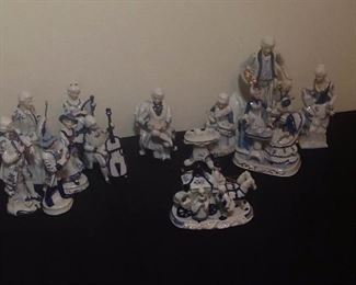 Blue and White Figurines