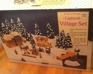Lighted Village Set and Ferris Wheel