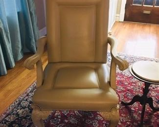buff leather chair