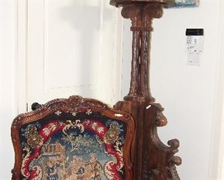 Gorgeous Carved Needlepoint Firescreen and Fabulous Carved Oversized French Lamp