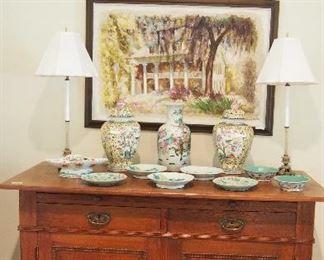 Arts & Crafts Cabinet, Oriental Porcelain, Pr. Fine Lamps and Orig. art