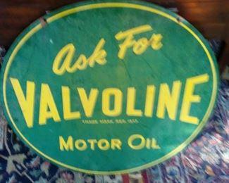 1956 VINTAGE VALVOLINE MOTOR OIL SIGN HANGING REVERSE