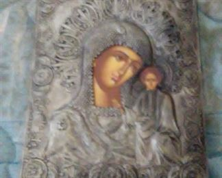 VINTAGE SILVER GREEK ORTHODOX ICON