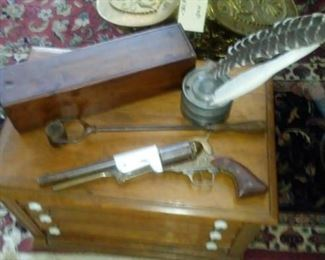 EARLY AMERICAN PRIMITIVE CANDLE BOX; PEWTER INKSTAND; CIVIL WAR BULLET CRUCIBLE; CIVIL WAR ERA PISTOL