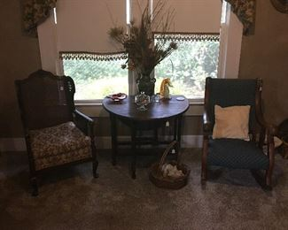 Upholstered chairs and Side table