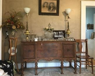 Beautiful Sideboard, Fostoria glassware, vintage lamps