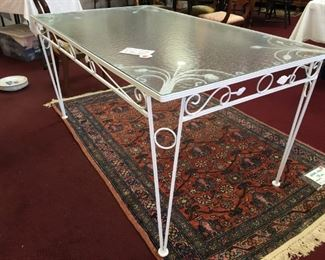 LeLu fine vintage table with glass top, 3'x5'