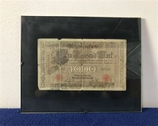 framed WWI German 1,000 mark