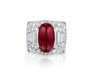 Lot 885 Ruby  Diamond Ring Unheated