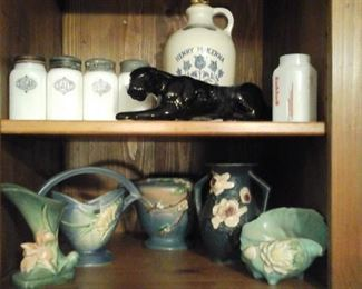Milk glass salt, pepper,flours,ugar Henry McKenna whiskey jug, Roseville pottery