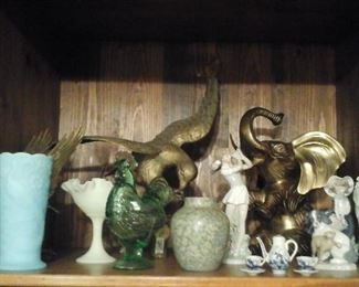 Fenton blue satin peacock vase, Fenton yellow satin comport, brass eagle,  brass elephant,  Lladro  figurines, Blue delft
