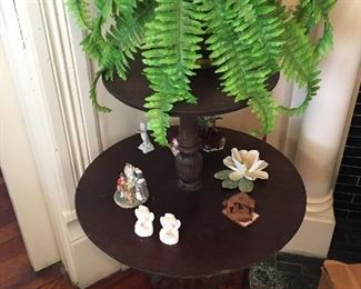 Tiered Table w/Porcelain Collectibles