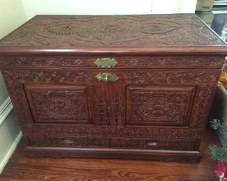 Asian Inspired Carved Chest