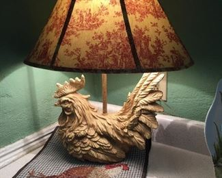 Rooster Lamp w/Toile Lamp Shade