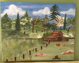 Painted Barn/Pasture on Canvas