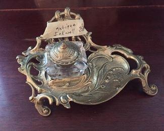 Unique Antique Brass Inkwell