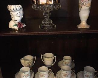 Vintage Head Vase/Asian Tea Set
