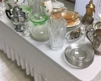Glassware including Depression/Floral Vases/Luncheon Plates