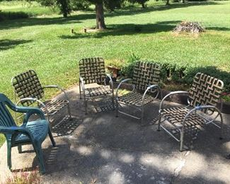 Vintage Webbed Lawn Chairs (4)
