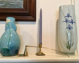 Roseville, brass candle stick & snuffer, signed Roberts iris vase