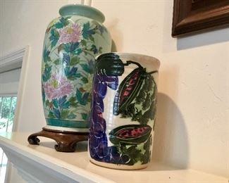 Asian vase & signed art vase/wine cooler