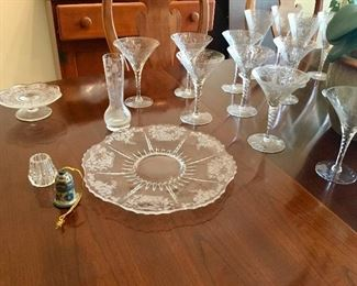 Etched plate and stemware