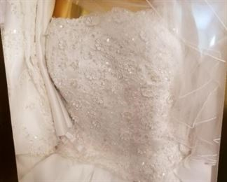 Gorgeous wedding gown and veil