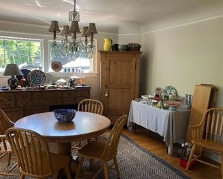 """Pine armoire, oak dining table and sideboard.  Dining table is 48"""" round with two 12""""leaves and 6 chairs.  Asking $280 for the set"""